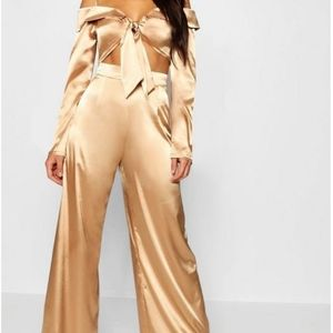 Boohoo Satin Wide Leg Trouser and Crop Top